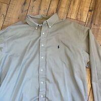 Ralph Lauren Men's XXL Blake Long Sleeve Button Down Beige Heavy Cotton Shirt