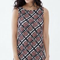 J Jill Small Wearever Collection Easy A-Line Tank Black White Red MSRP $39