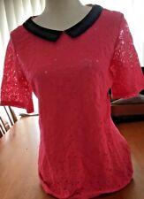 Ladies Top Pink Black Collar Short Lace Sleeve Detailed Front Sz 16Au GUC+