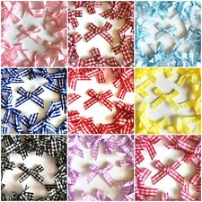 10 x Cute Gingham Ribbon Bows Checked 7mm Card Making Sewing Craft - 9 Colours