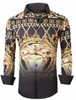 Mens PREMIERE Long Sleeve Button Up Dress Shirt SILKY BLACK GOLD MEDUSA HEAD 697