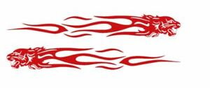 2Pcs Tiger Flame Totem Car Motorcycle Creative Decals Stickers Reflective - RED