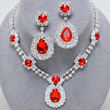Rosso Diamante Cristallo Collana Set Brides Bridesmaids Proms dichiarazione gioielli