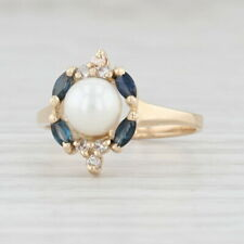 Cultured Pearl Sapphire Diamond Halo Ring 14k Yellow Gold Size 6.25