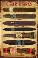 Cigars Shapes Tobacco Shop Retro Tin Metal Sign 8 x 12