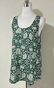 H&M Conscious Size S Small 8 10 Top Green Leaf Floral Print Sleeveless Tank