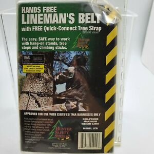 New Hunter Safety System LCB Hands Free Linemans Belt W Quick Connect Tree Strap