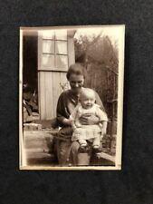 Vintage BW Real Photo #BP: Happy Smiling  Mother & Baby Garden Shed