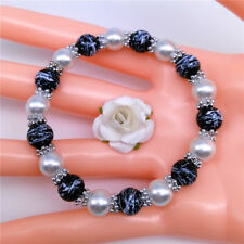 Wholesale Fashion Jewelry 8mm Pearl Camouflage Beads Stretch Bracelet MC01