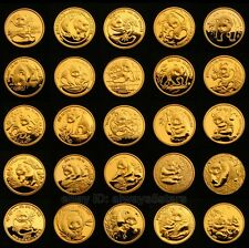 A Set of 25pcs Chinese Giant Panda 24k Gold Clad Souvenir Medal Coins 1982-2006