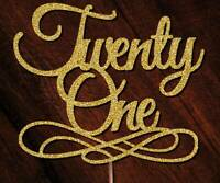 Personalised 21st Birthday Cake Toppers Twenty One & Fabulous Glitter Rose Gold