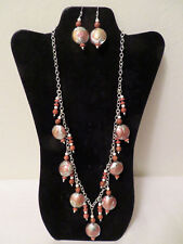 Glass Stone Beads Neutrals Browns Artisan Necklace Earrings Jewelry Set Art