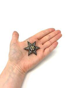 Great Antique Victorian Sterling Silver 925 Paste Star Design Ladies Brooch #35
