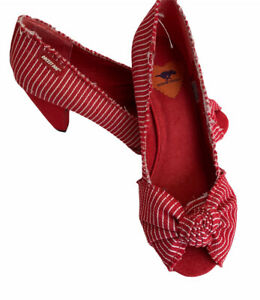 Rocket Dog Shoes UK 6 EUR 39 Red & White Stripe Bow Front Peep Toe Heels Party