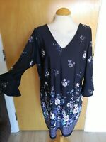 Ladies Dress Size 16 18 Navy Floral Bell Sleeves Smart Casual Day Party