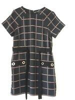 River Island Women's Black colour block Belted Tunic short sleeve Dress Size 10