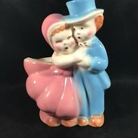 Vintage Ceramic Pink Blue Courting Couple Planter
