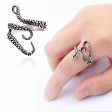 Gothic Punk Adjustable Silver Plated Ocean Octopus Tentacles Finger Open Ring