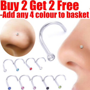 Nose Studs Surgical Steel Small Gem Crystal Screw Nose Stud Piercing Pin Studs