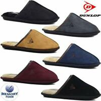 DUNLOP MENS SLIPPERS NEW WINTER WARM FUR COSY LUXURY INDOOR SLIP ON SHOES SIZE