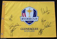 TEAM USA SIGNED 2014 RYDER CUP FIELD FLAG ZACH JOHNSON MAHAN SIMPSON 7 SIGS J2
