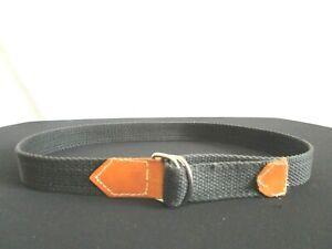 "Black Canvas Brown Leather Silver D Ring Boy's Belt Sz 21""-25"""