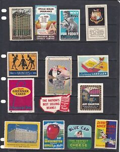 POSTER STAMPS, A COLLECTION OF 14 UNITED STATES  ADVERTISING LABELS