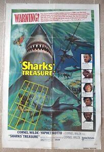 "SHARKS' TREASURE One sheet US Movie Poster 27x41"" Horror fIlm 1975 75/78 F/VF"