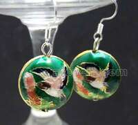 18mm Dark Green Round Cloisonne Beads Dangle 1.5'' Hook Earring for Women ear651