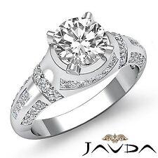 Natural Round Diamond Pave Set Engagement Ring GIA F VS2 14k White Gold 1.25ct