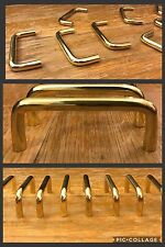 6 Handles Pulls Brass Tone Cabinet Drawer Bin Arch Bar Mid Century Heavy Vintage