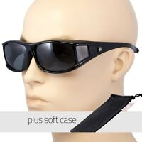 POLARIZED cover put over Sunglasses wear Rx glass fit driving LARGE Black POUCH