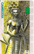 Cambodia phonecard US 2 Dollar - prefix 761 - WITH Telstra - only one hole