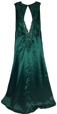 Vtg VICTORIAS SECRET Gold Label Sz S Green Lace Negligee Nighty Nightgown Satin