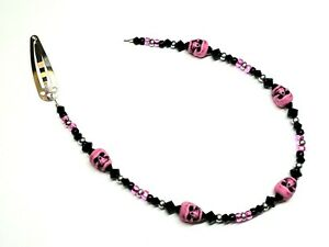 Hot Pink, Black, Silver Antiqued Skull Beaded Silver-Plated Steel Hair Clip