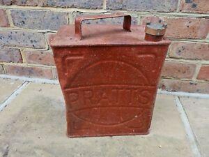 vintage classic Pratts petrol can & original brass cap jerry can barn find retro