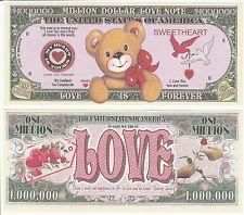 Love ~ Teddy Bear ~ Million Dollar Bill Funny Money Novelty Note + FREE SLEEVE