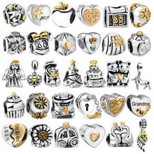 European Sliver Gold Charm Beads Jewelry Fit Family Sterling 925 Bracelets Chain