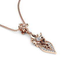 Hallmarked 14K  Rose Gold Round Cut 0.40 Ct Natural Diamond Pendant Necklaces
