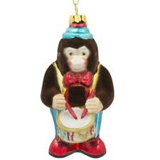 Fluffy Monkey Playing Drums Glass Christmas Ornament 4 Inches