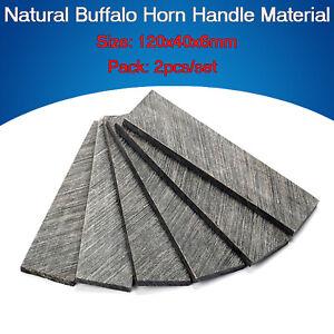 2X Natural Black Buffalo Horn Knife Scales knives Making Handle Material Blanks