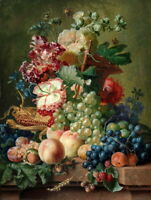 Peaches Grapes Fruit Flower Still Life Oil painting HD Printed on Canvas P405