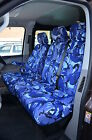 VW TRANSPORTER T5 T6 2010+ a medida Azul Camuflaje FUNDAS ASIENTO FRONTAL