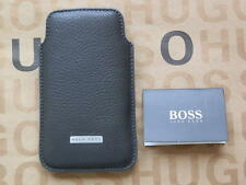 HUGO BOSS MENS IPHONE GREY BLACK LABEL LEATHER NOTES COINS CREDIT SLEEVE WALLET