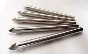x5 new 6mm tungsten head drill bits for tiles, china, glass, ceramic New. UK