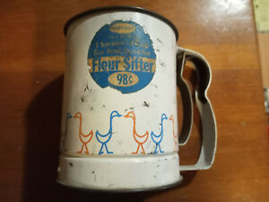 Androck Goose Geese 3 Cup One Hand Operation Single Screen Flour Sifter Vintage