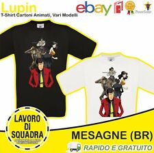 T-shirt Lupin III Arsenico Jigen Zenigata Ishigawa Maga Cartoni Animati Italy