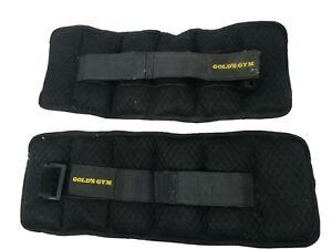 Golds Gym 5 LBS Pair Adjustable Ankle/Wrist Weights Hook & Loop Strap - USED