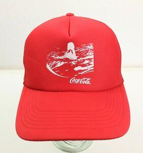 Coca-Cola Red Truckers Mesh Snapback Cap Hat Surfer Image