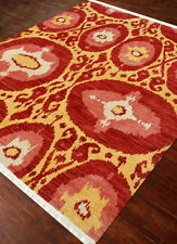 Hand Knotted Sunflower Vintage colour Claret Wool 4X6 Feet Ikat Pattern Rug